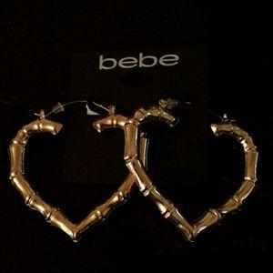 NWT bebe bamboo heart shaped earrings